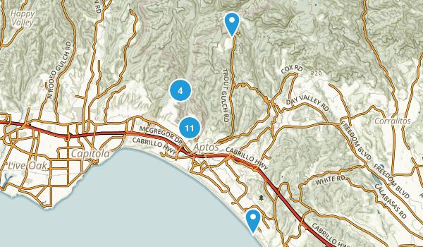 Aptos, California Trail Running Map