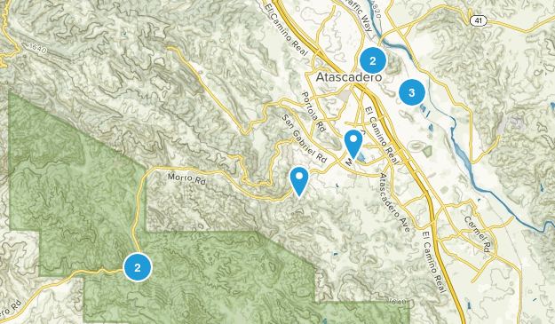 Atascadero, California Hiking Map