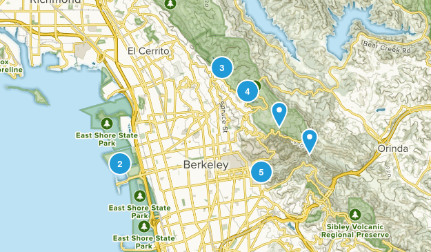 Berkeley, California Hiking Map