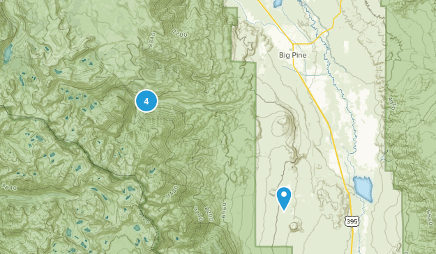 Big Pine, California Waterfall Map