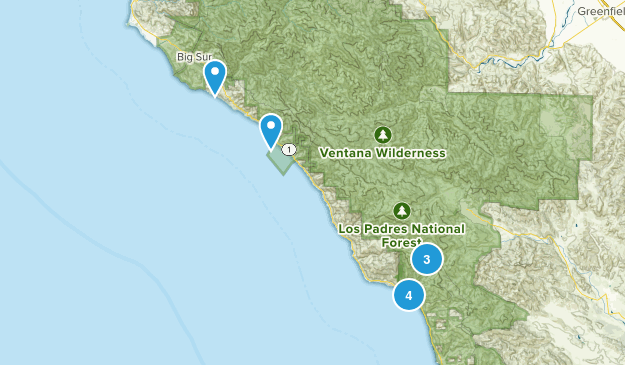 Big Sur, California Camping Map