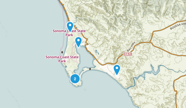 Bodega Bay, California Trail Running Map