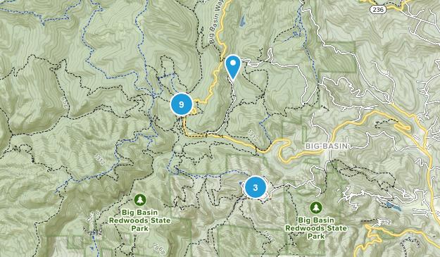Boulder Creek, California Trail Running Map