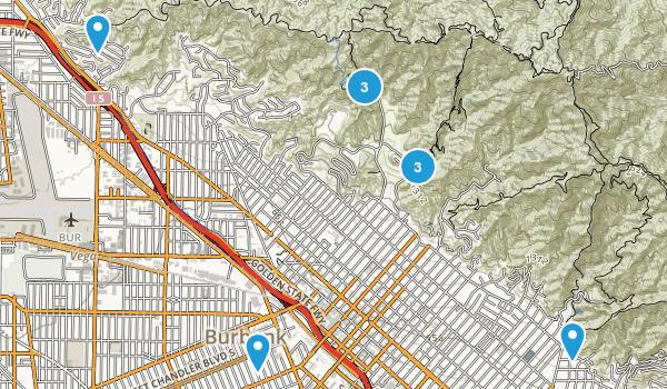 Burbank, California Hiking Map