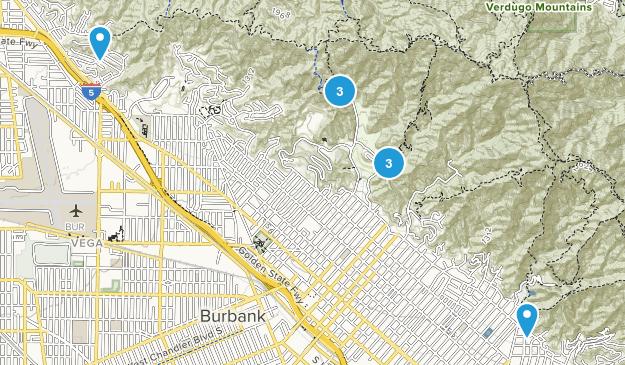 Burbank, California Trail Running Map