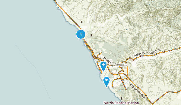 Cambria, California Beach Map