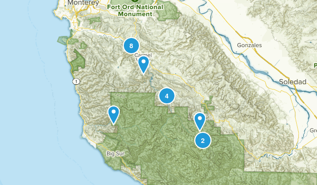 Carmel Valley, California Hiking Map