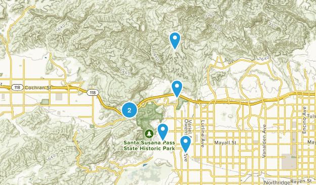 Chatsworth, California Trail Running Map