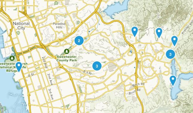 Chula Vista, California Hiking Map