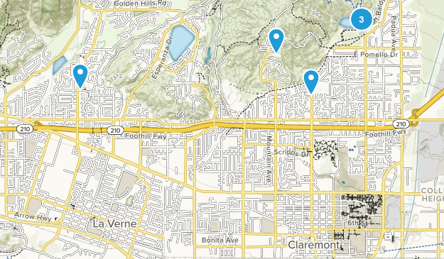 Claremont, California Mountain Biking Map