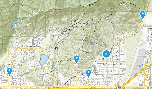 Claremont, California Trail Running Map