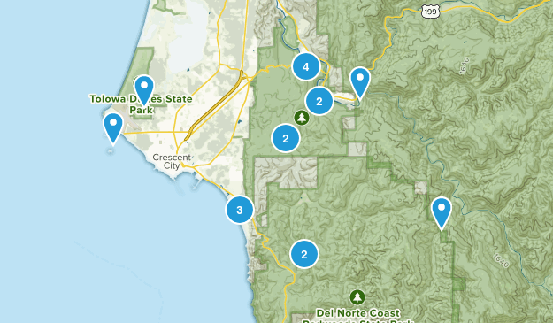 Crescent City, California Trail Running Map