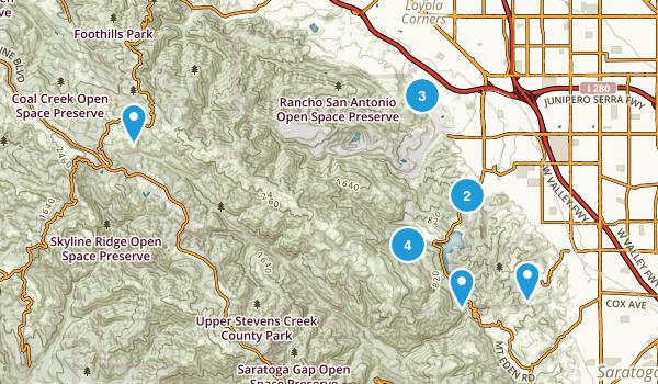 Cupertino, California Hiking Map
