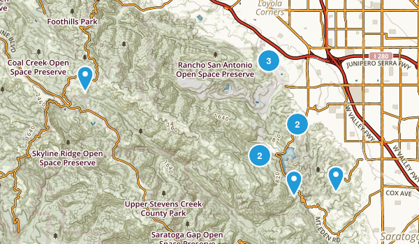 Cupertino, California Trail Running Map
