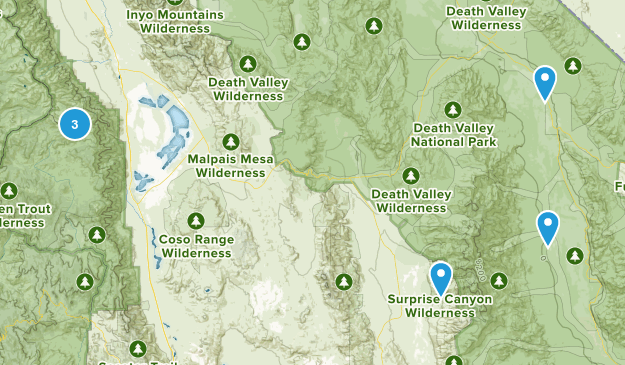Death Valley, California Backpacking Map