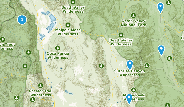 Death Valley, California Camping Map