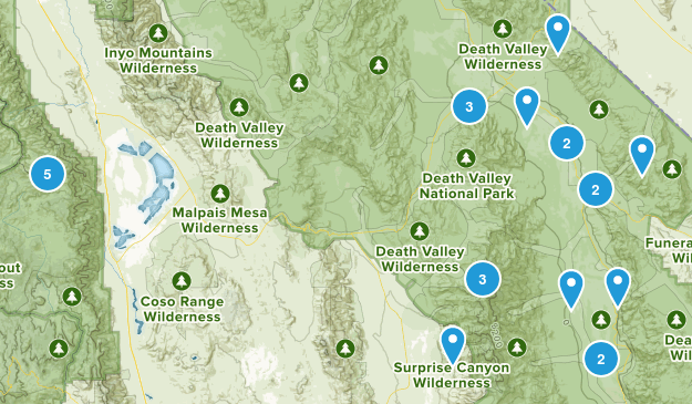 Death Valley, California Hiking Map