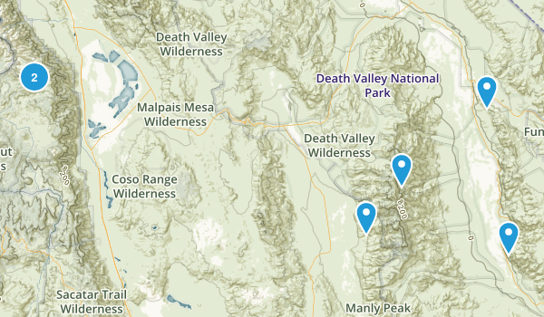 Death Valley, California Trail Running Map
