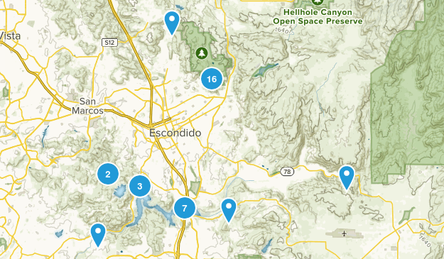 Escondido, California Trail Running Map