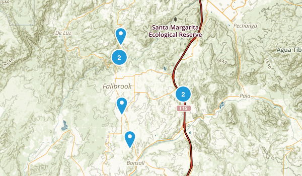 Fallbrook, California Hiking Map