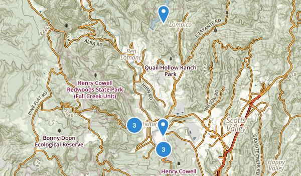 Felton, California Hiking Map