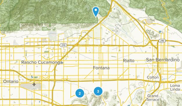 Fontana, California Trail Running Map