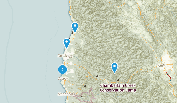 Fort Bragg, California Hiking Map