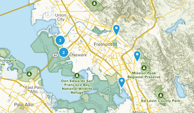 Fremont, California Mountain Biking Map