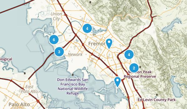 Fremont, California Trail Running Map