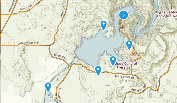Friant, California Hiking Map