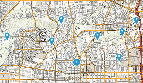 Fullerton, California Dogs On Leash Map