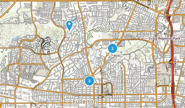 Fullerton, California Horseback Riding Map