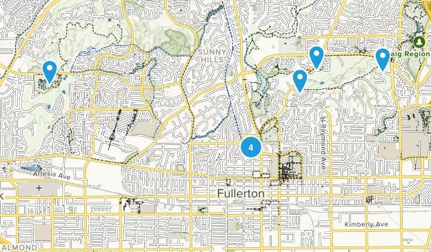 Fullerton, California Mountain Biking Map
