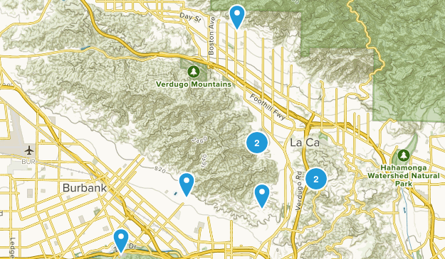 Glendale, California Trail Running Map