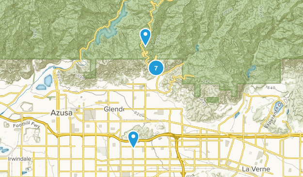 Glendora, California Mountain Biking Map