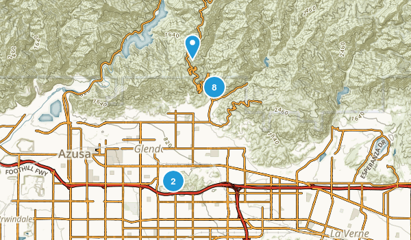 Glendora, California Nature Trips Map