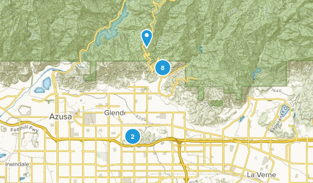 Glendora, California Nature Trips Map