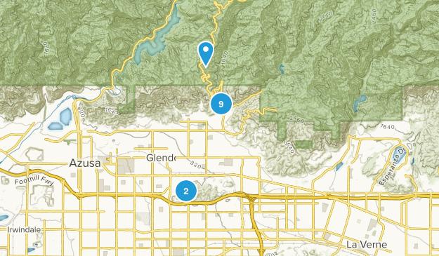 Glendora, California Trail Running Map