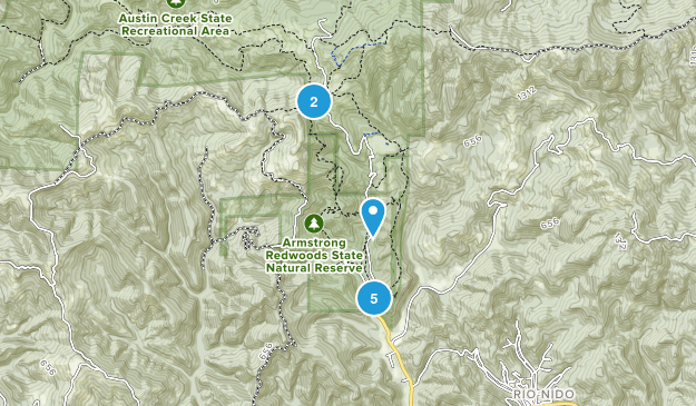Guerneville, California Hiking Map