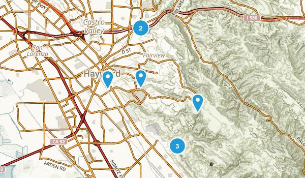 Hayward, California Dogs On Leash Map