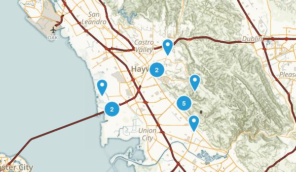 Hayward, California Hiking Map