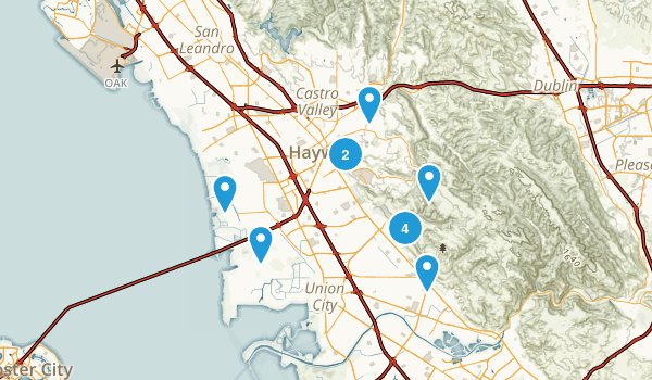 Hayward, California Trail Running Map