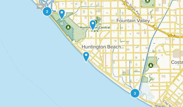 Huntington Beach, California Hiking Map