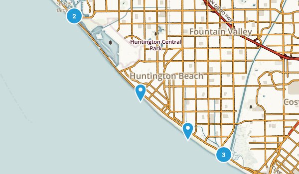 Huntington Beach, California Trail Running Map