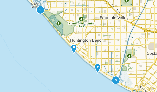 Huntington Beach, California Trail Running Map