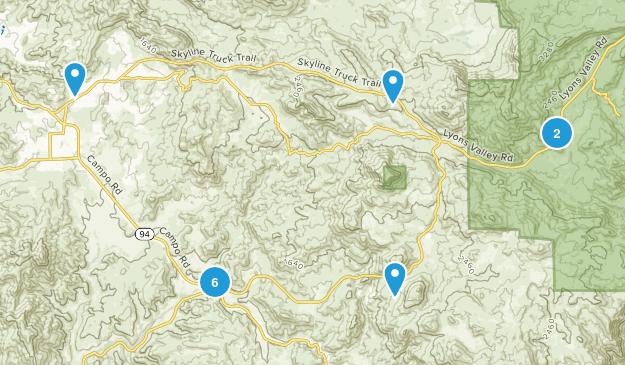 Jamul, California Hiking Map