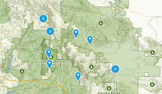 Julian, California Trail Running Map