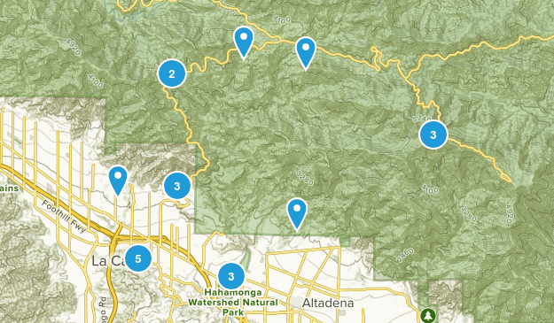 La Canada Flintridge, California Hiking Map