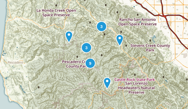 La Honda, California Forest Map