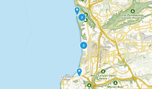 La Jolla, California Beach Map